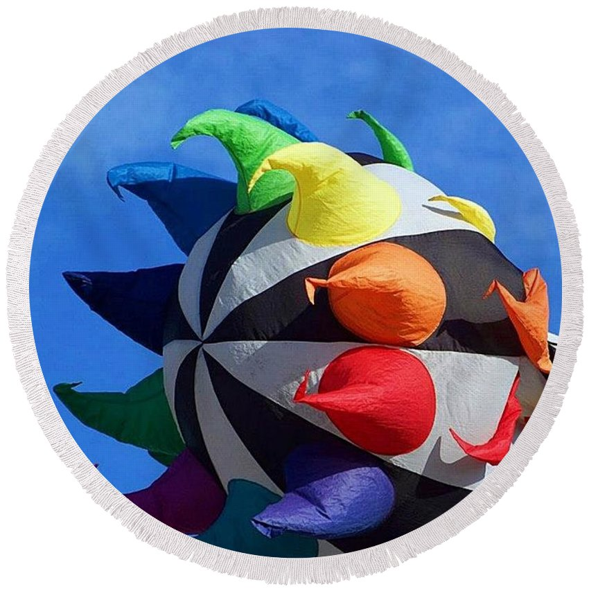 Windsock Round Beach Towel featuring the photograph Windy Toy by Pattie Frost