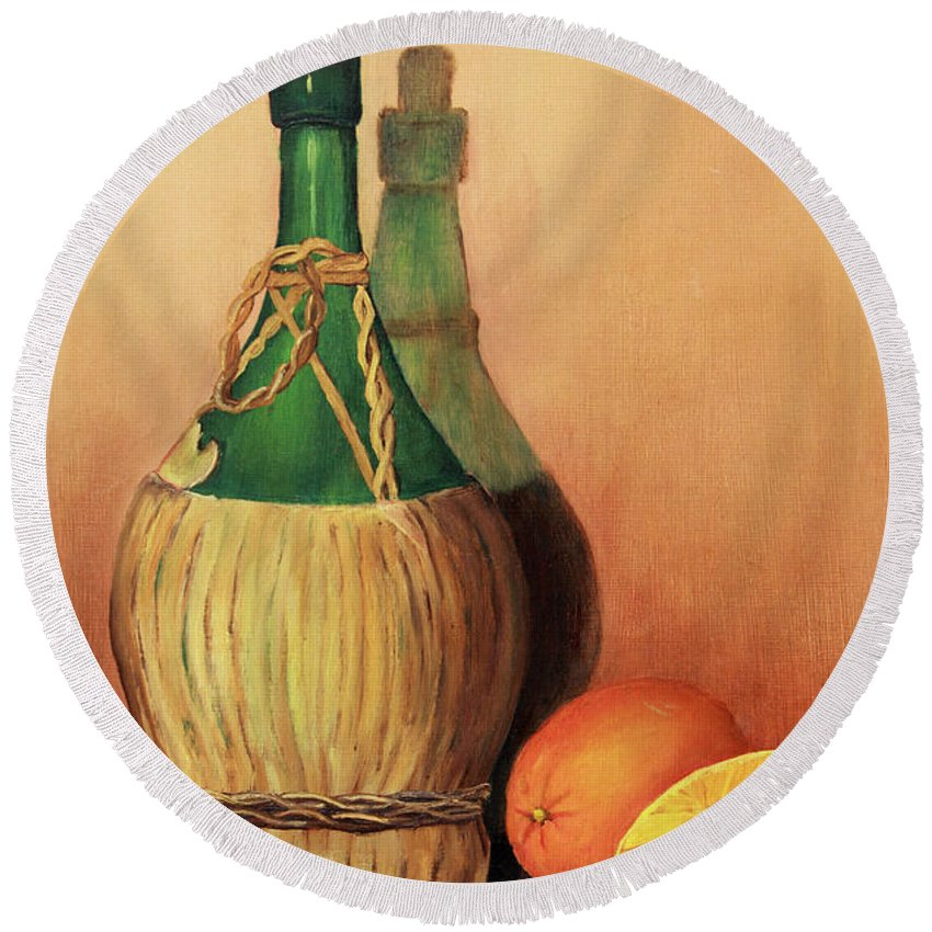Wine Round Beach Towel featuring the painting Wine And Oranges by Pattie Calfy
