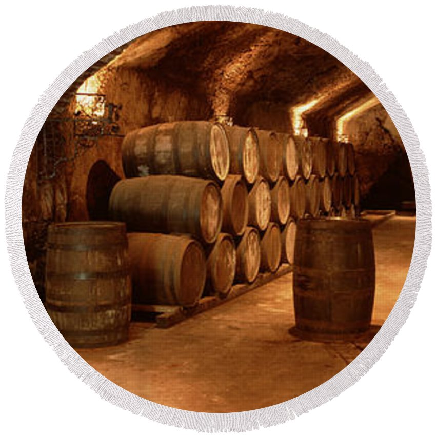 Photography Round Beach Towel featuring the photograph Wine Barrels In A Cellar, Buena Vista by Panoramic Images