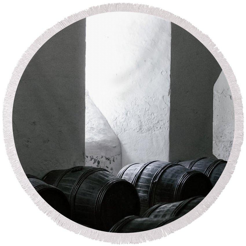Wine Round Beach Towel featuring the photograph Wine Cellar by Joana Kruse