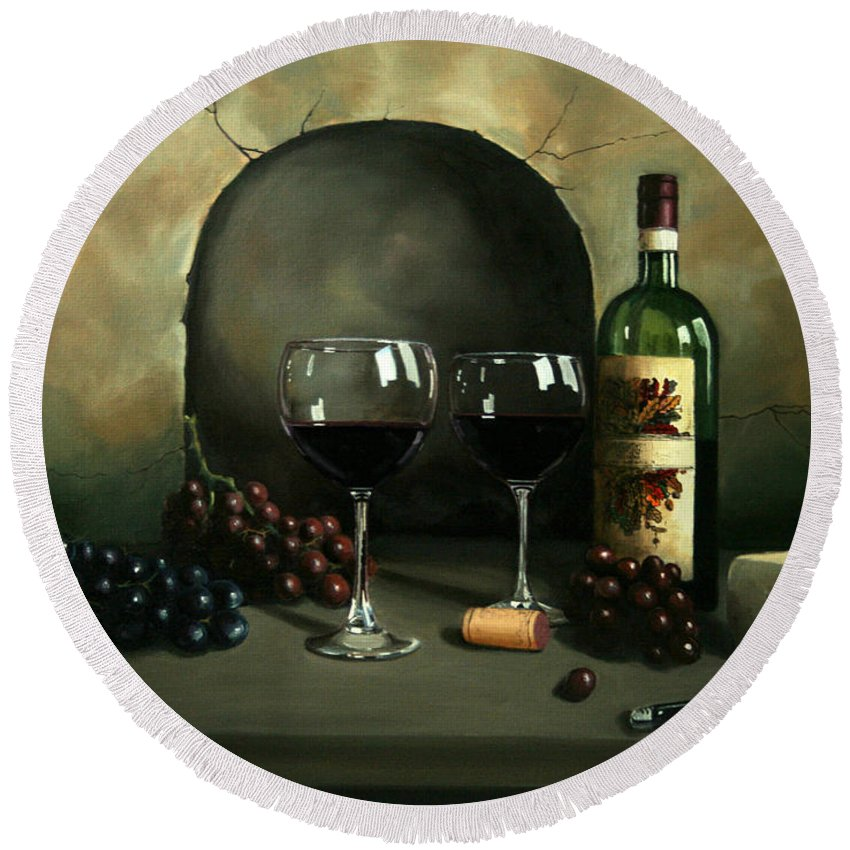Wine Round Beach Towel featuring the painting Wine For Two by Paul Walsh