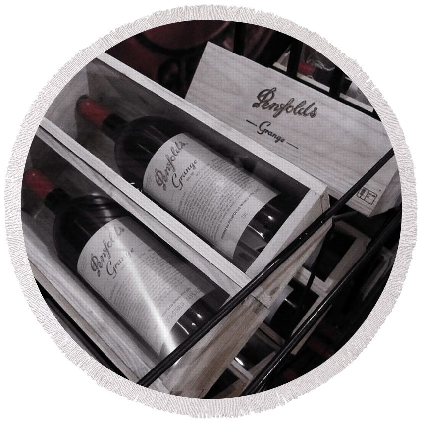 Penfolds Grange Round Beach Towel featuring the photograph Wine Of Distinction by Douglas Barnard
