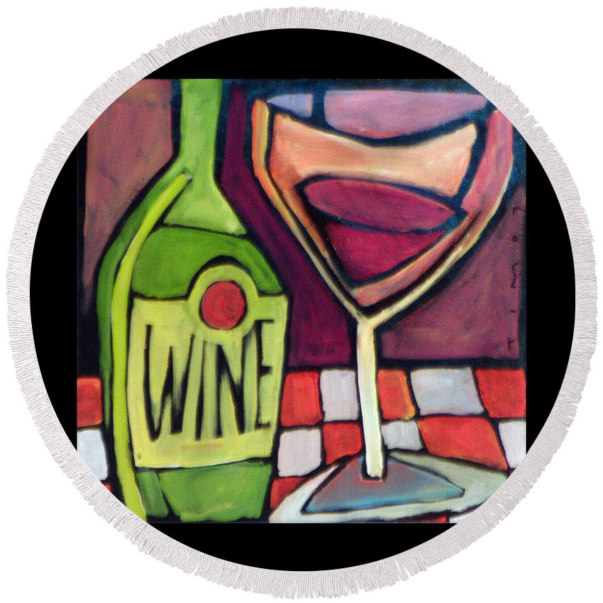 Wine Round Beach Towel featuring the painting Wine Squared by Tim Nyberg
