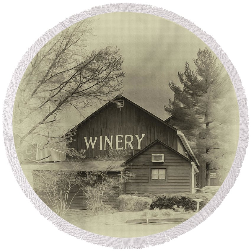 Barn Round Beach Towel featuring the photograph Winery In Sepia by Tom Gari Gallery-Three-Photography