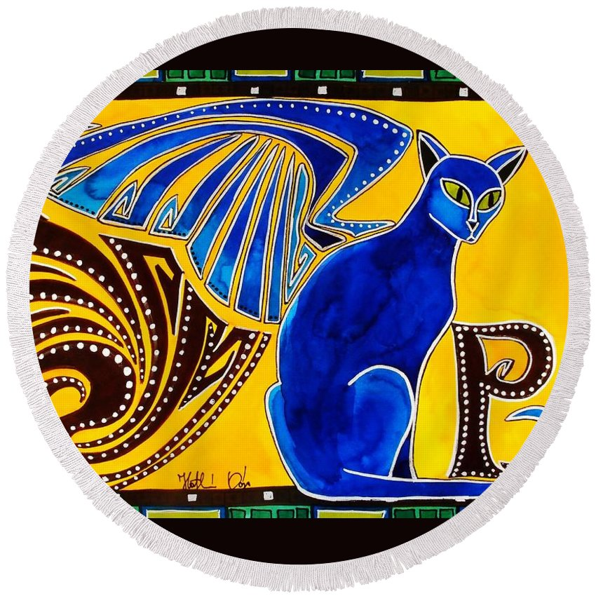 Cat Art Round Beach Towel featuring the painting Winged Feline - Cat Art with letter P by Dora Hathazi Mendes by Dora Hathazi Mendes