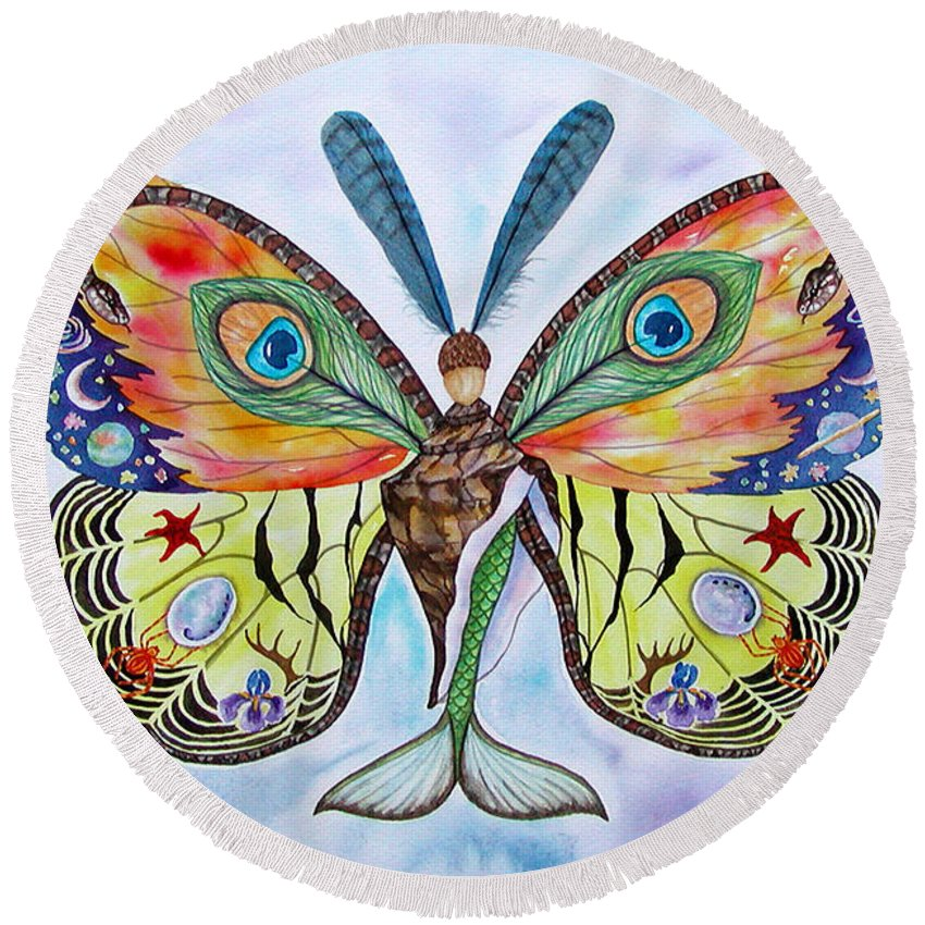 Butterfly Round Beach Towel featuring the painting Winged Metamorphosis by Lucy Arnold