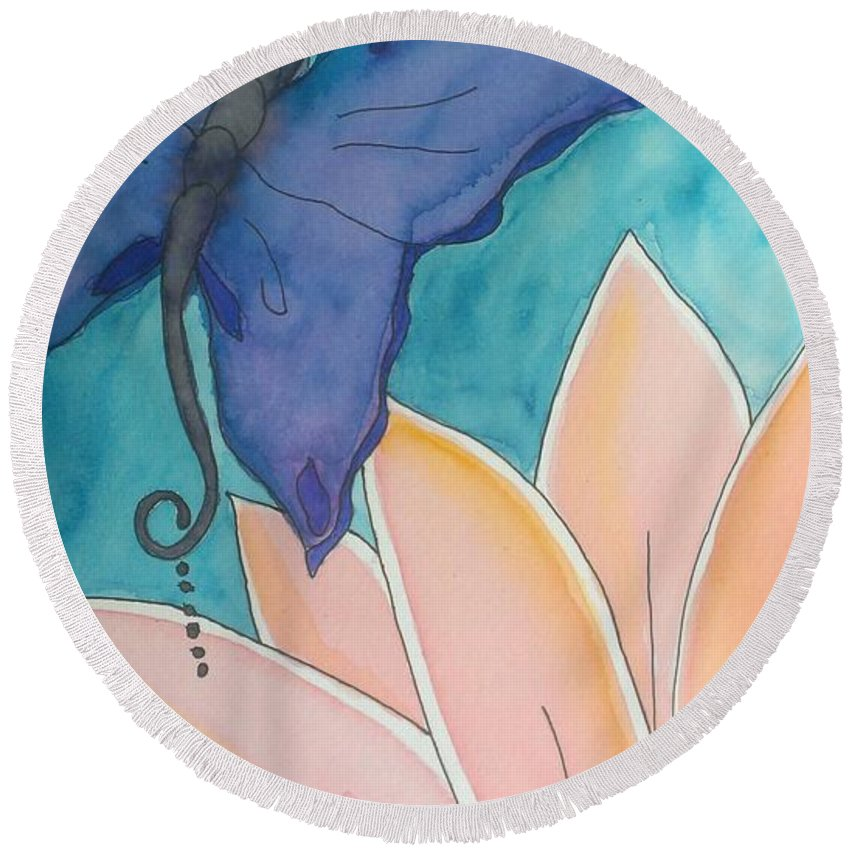Butterfly Round Beach Towel featuring the painting Wings And Pedals by LKB Art and Photography