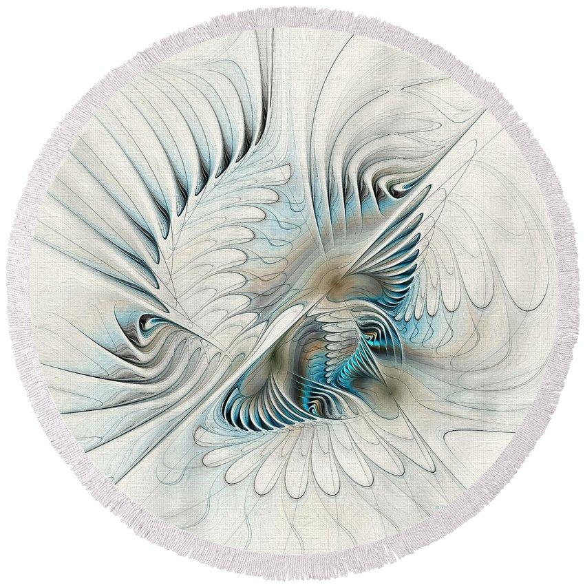 Fractal Round Beach Towel featuring the painting Wings Of An Angel by Deborah Benoit