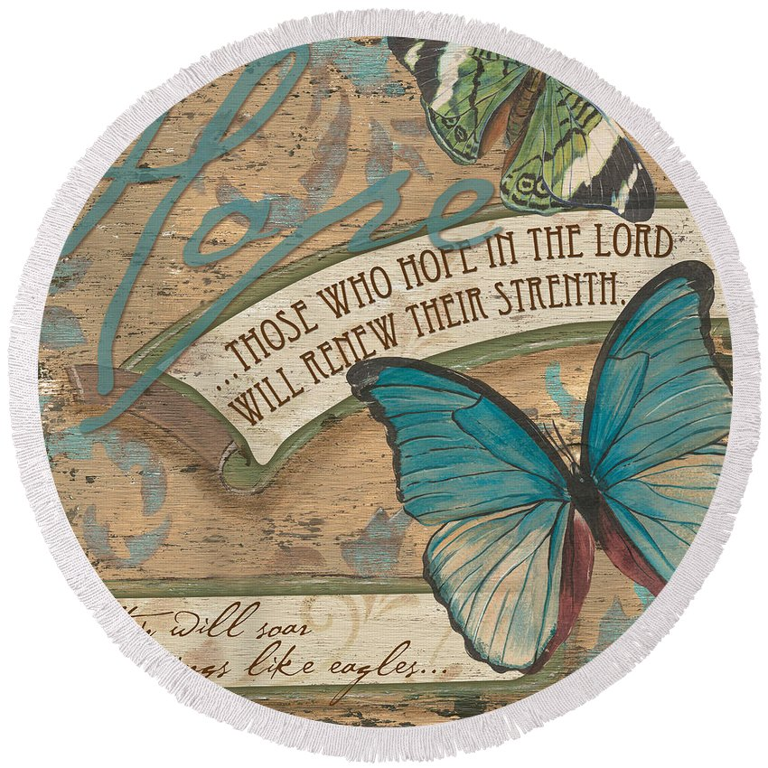 Butterfly Round Beach Towel featuring the painting Wings Of Hope by Debbie DeWitt
