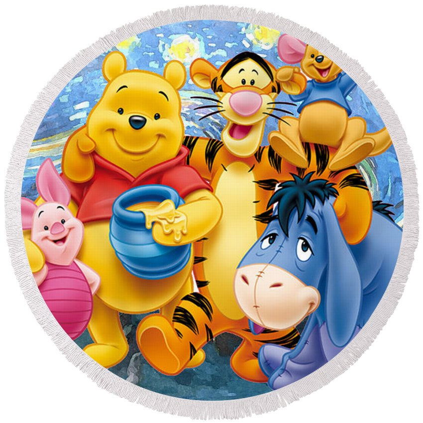 Winnie The Pooh Starry Night Round Beach Towel featuring the digital art Winnie the Pooh Starry Night by Midex Planet