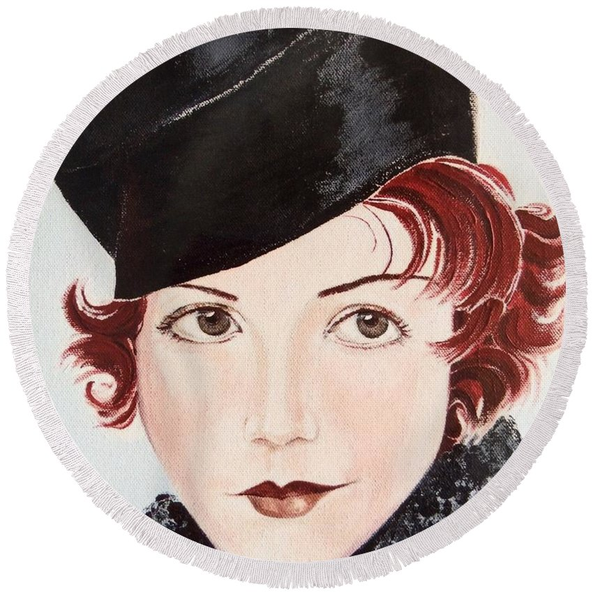 Redhead Round Beach Towel featuring the painting Winsome And Mischievous by Barbara Chase