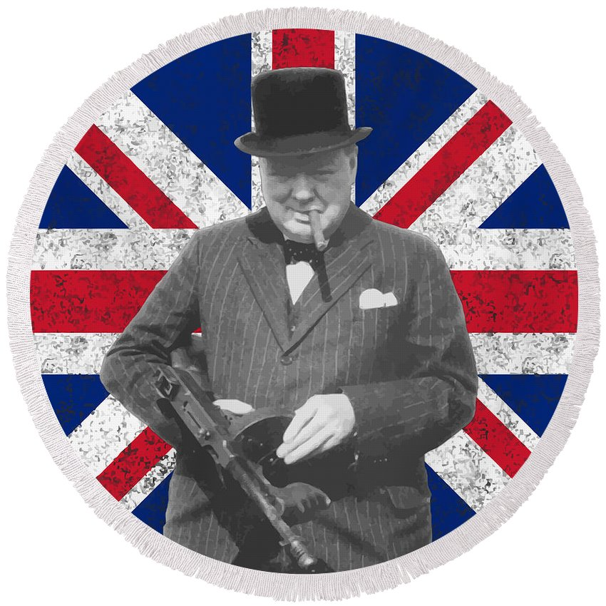 Winston Churchill Round Beach Towel featuring the painting Winston Churchill and His Flag by War Is Hell Store