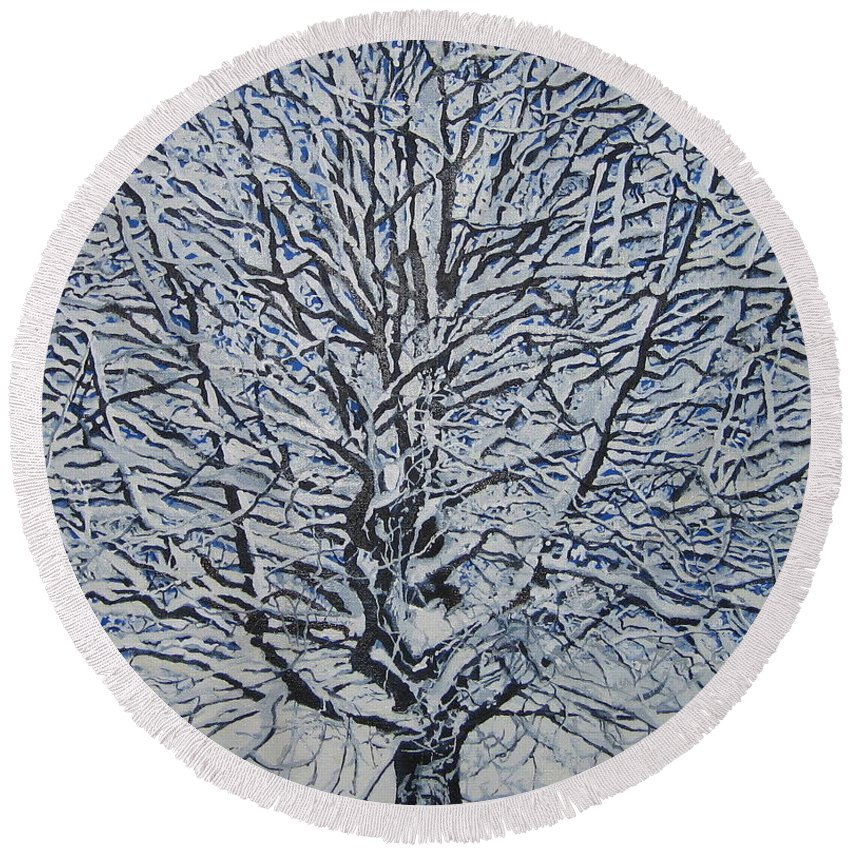 Winter Round Beach Towel featuring the painting Winter '05 by Leah Tomaino