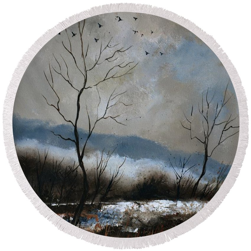 Winter Round Beach Towel featuring the painting Winter 4571 by Pol Ledent
