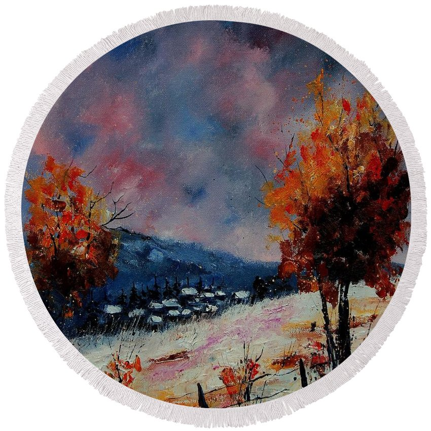 Winter Round Beach Towel featuring the painting Winter 560110 by Pol Ledent