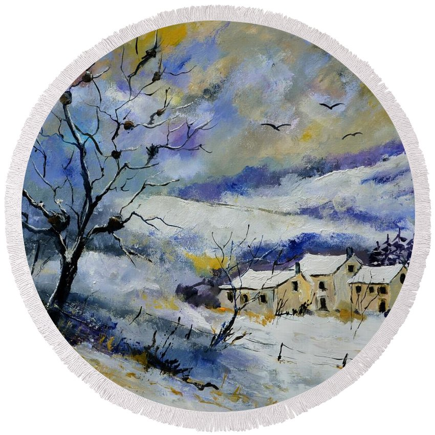 Landscape Round Beach Towel featuring the painting Winter 7671 by Pol Ledent