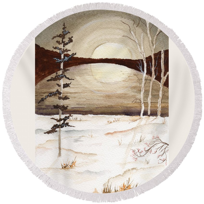 Watercolor Round Beach Towel featuring the painting Winter Apex by Brenda Owen