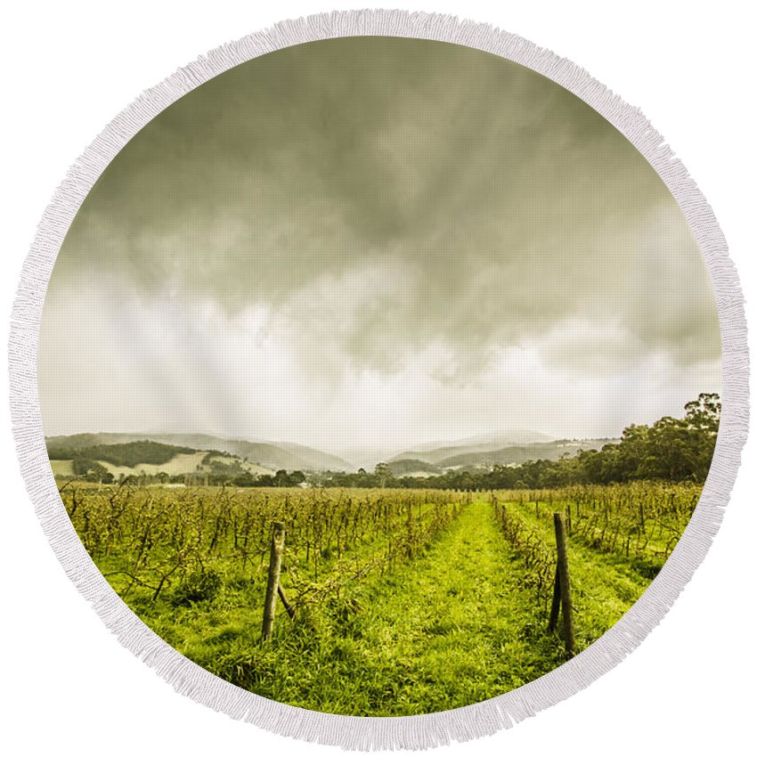 Huonville Round Beach Towel featuring the photograph Winter Apple Orchard by Jorgo Photography - Wall Art Gallery