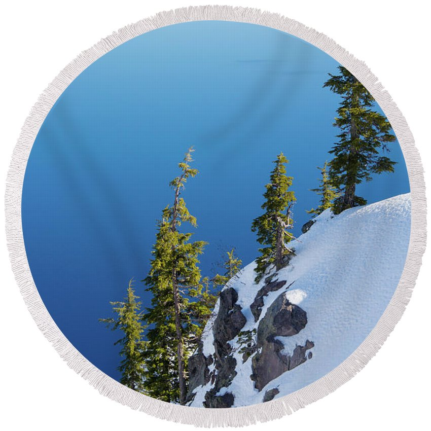 Crater Lake National Park Round Beach Towel featuring the photograph Winter At Crater Lake by Kunal Mehra