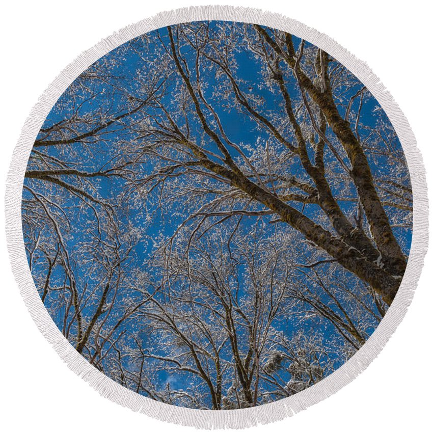 Landscape Round Beach Towel featuring the photograph Winter Beauty by Jonathan Nguyen