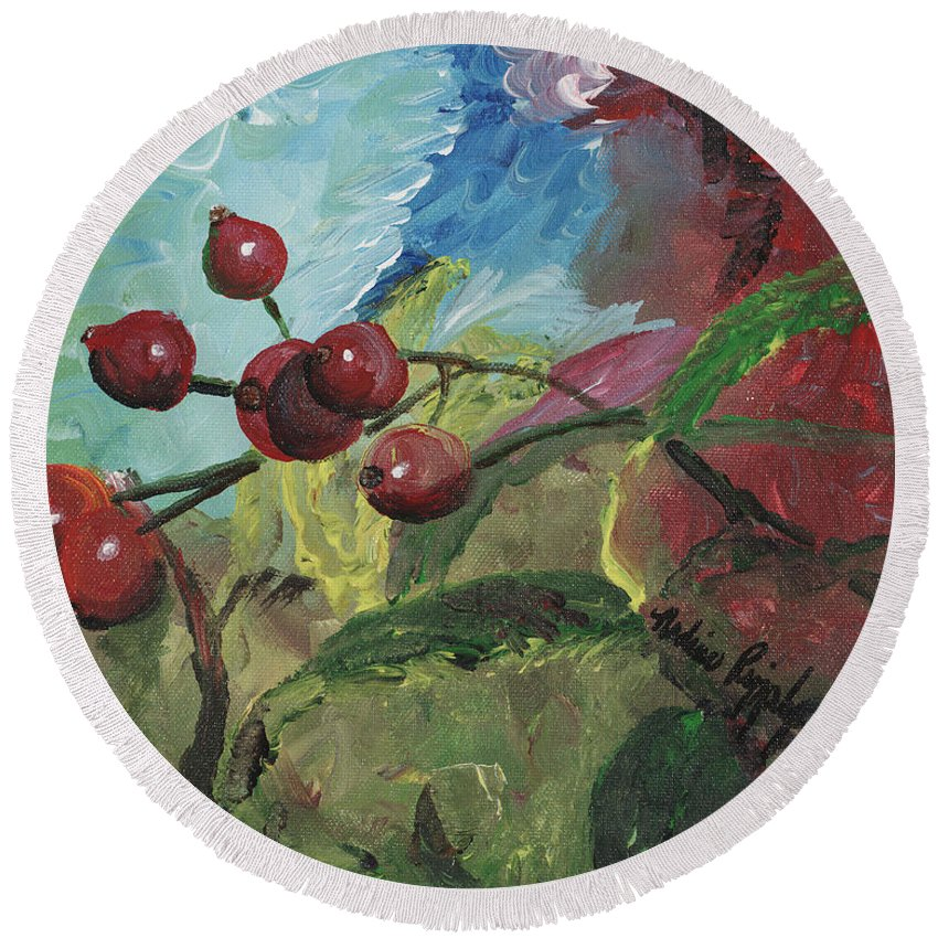 Berries Round Beach Towel featuring the painting Winter Berries by Nadine Rippelmeyer