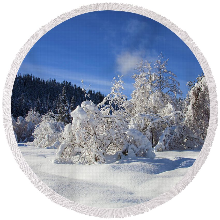 Snow Round Beach Towel featuring the photograph Winter Blanket by Mike Dawson