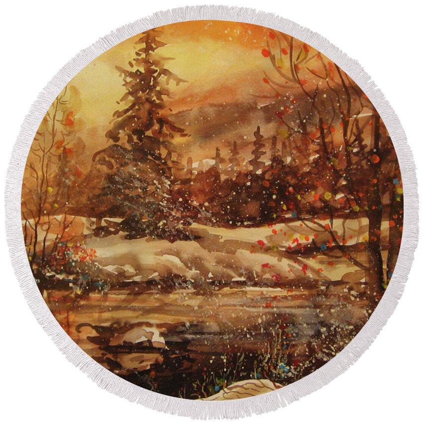 Winter Bliss Round Beach Towel featuring the painting Winter Bliss by Dariusz Orszulik