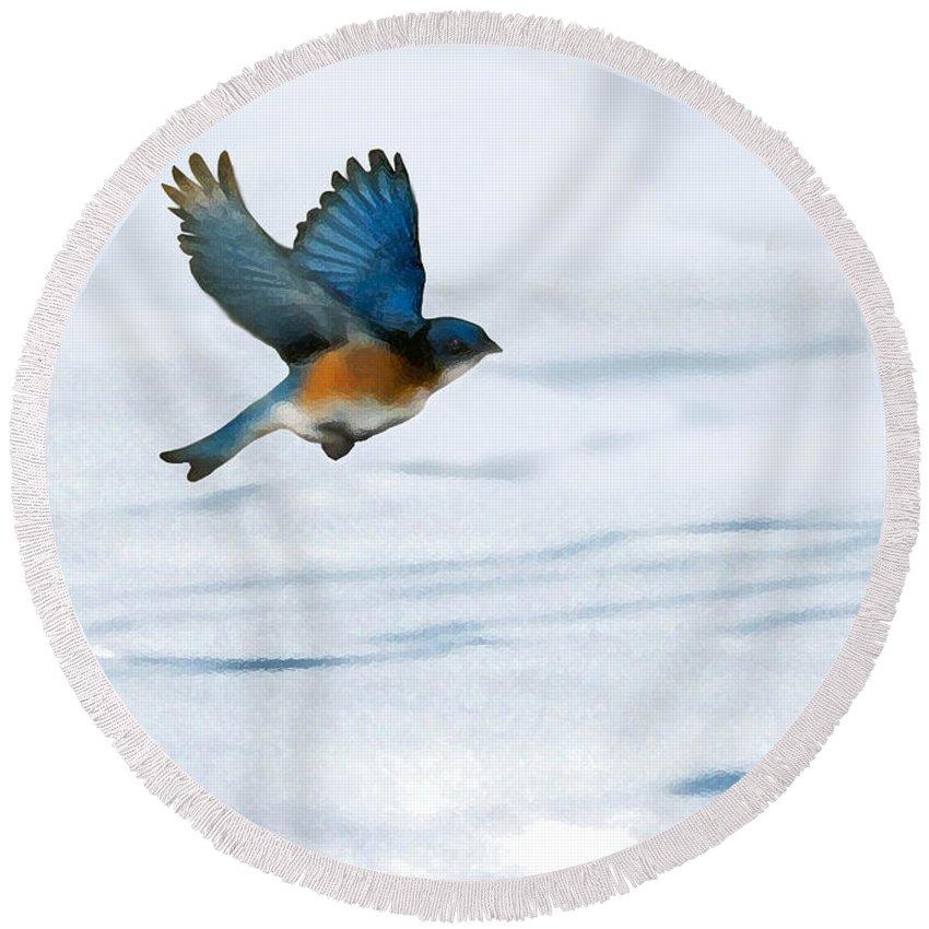 Blue Bird Round Beach Towel featuring the digital art Winter Blues by Steve Karol