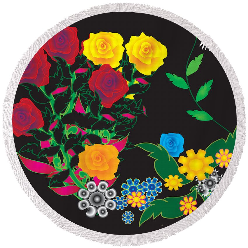 Illustrated Rose Round Beach Towel featuring the digital art Winter Bouquet by Kim Prowse