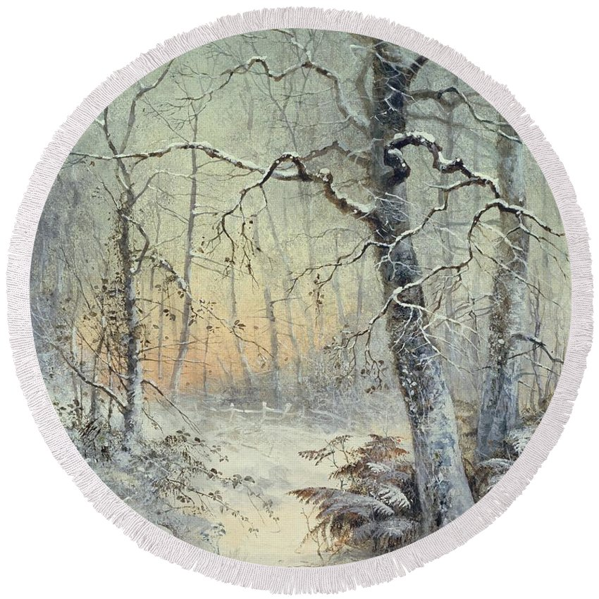 Winter Round Beach Towel featuring the painting Winter Breakfast by Joseph Farquharson
