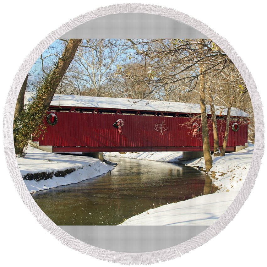 Covered Bridge Round Beach Towel featuring the photograph Winter Bridge by Margie Wildblood