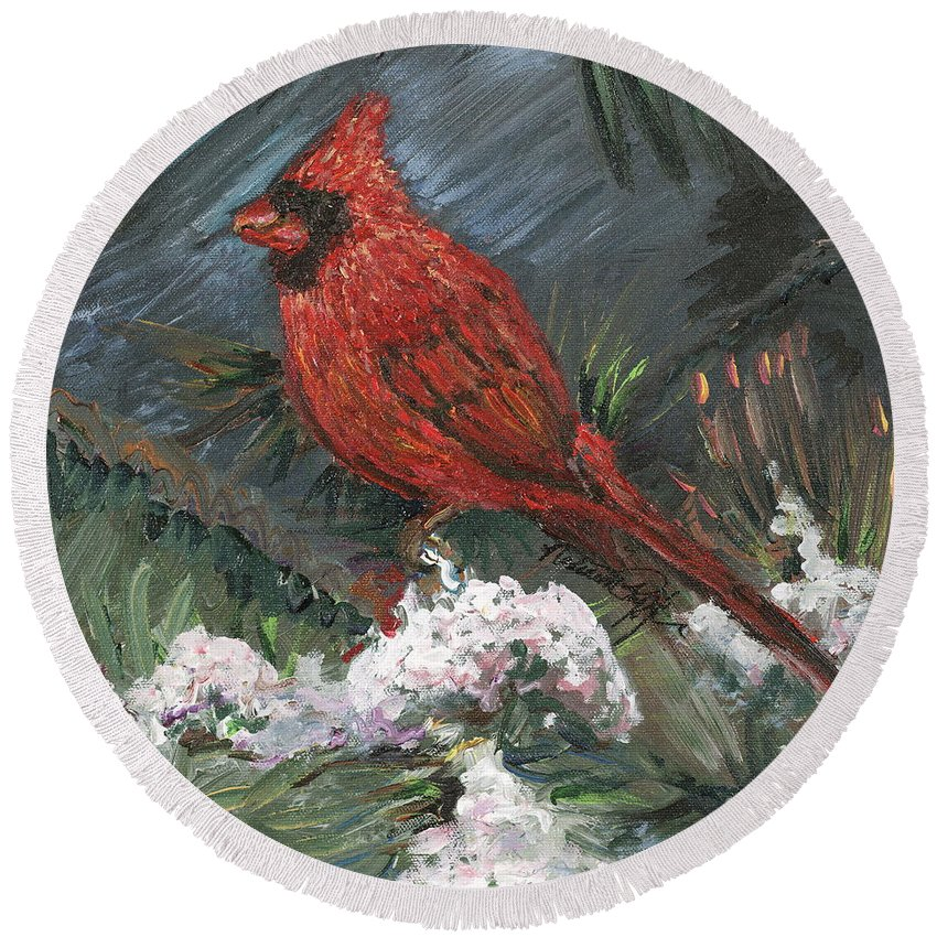 Bird Round Beach Towel featuring the painting Winter Cardinal by Nadine Rippelmeyer
