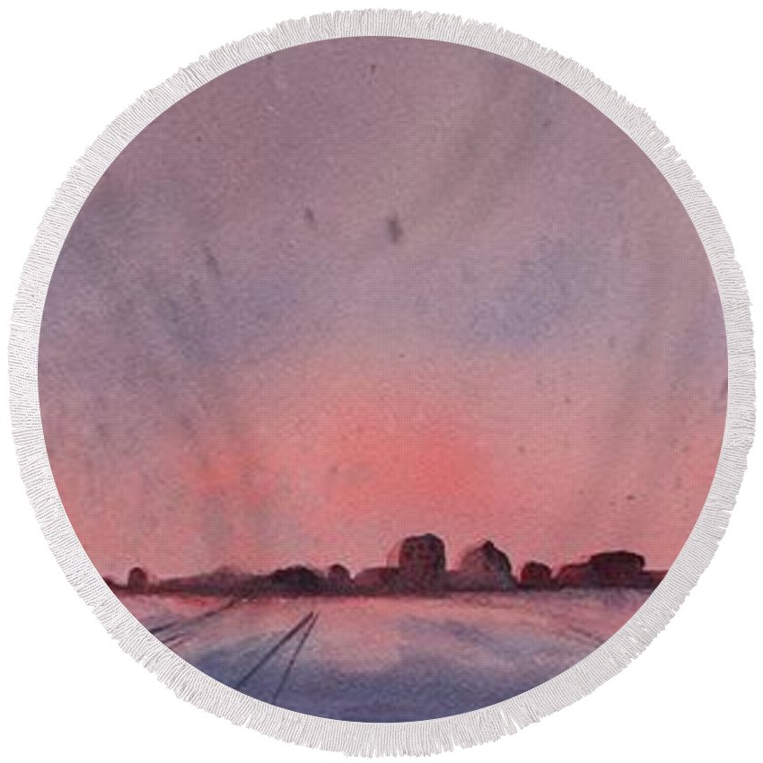 Winter Round Beach Towel featuring the painting Winter City by Ruth Kamenev