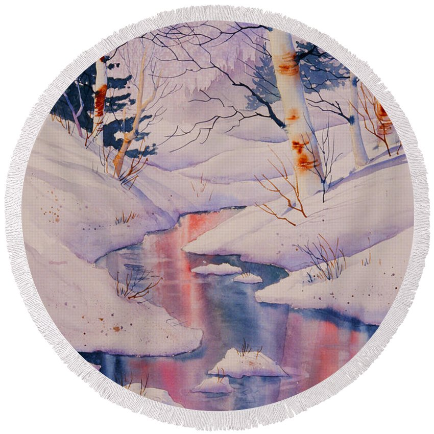 Winter Creek Round Beach Towel featuring the painting Winter Creek by Teresa Ascone