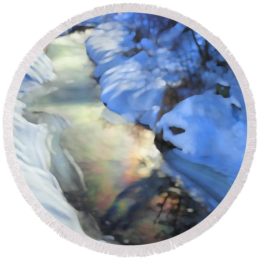 Creek River Round Beach Towel featuring the photograph Winter Creek by Theresa Tahara