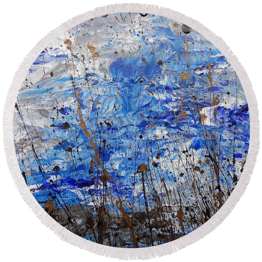 Winter Crisp Round Beach Towel featuring the painting Winter Crisp by Jacqueline Athmann