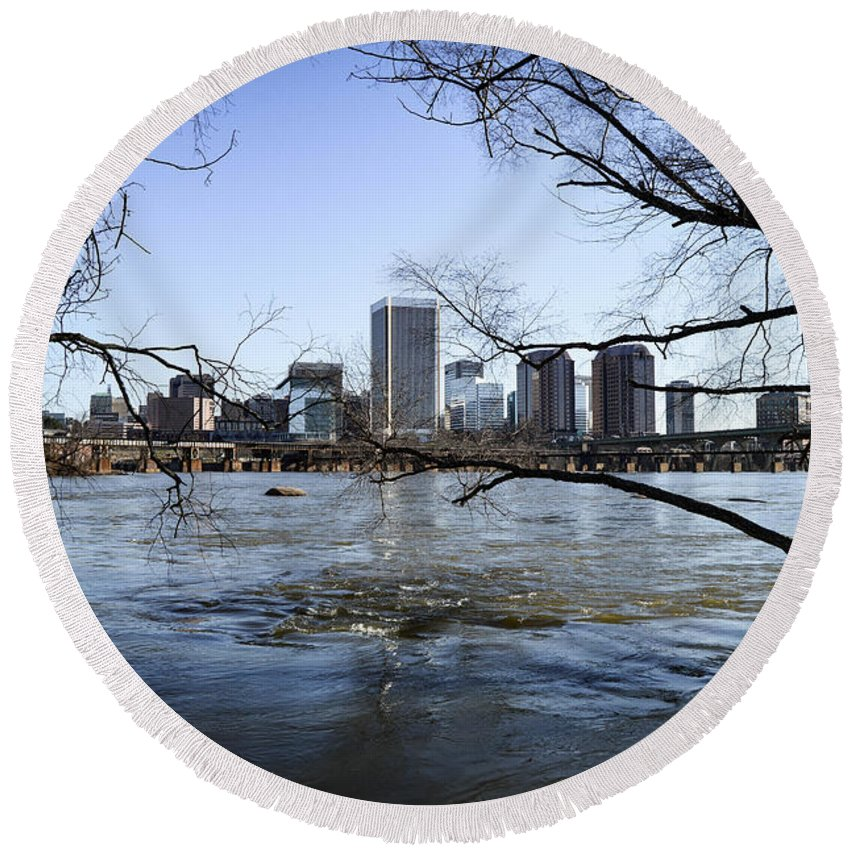 Richmond Round Beach Towel featuring the photograph Winter Day At Belle Isle by Aaron Dishner