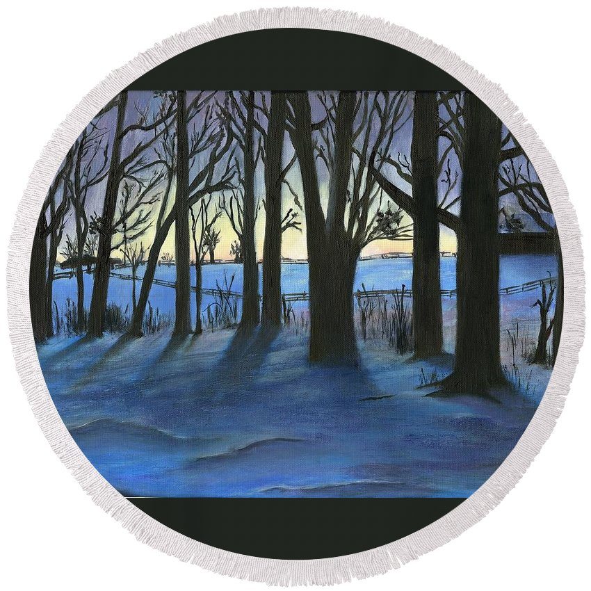 Winter Scenes Round Beach Towel featuring the painting Winter Day's End by Deborah Butts