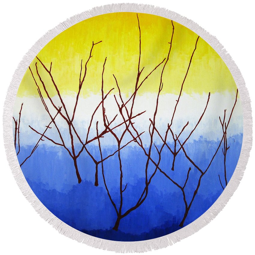 Nature Round Beach Towel featuring the painting Winter Dogwood by Oliver Johnston