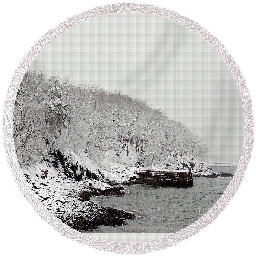 Snow Round Beach Towel featuring the photograph Winter Finery by Faith Harron Boudreau