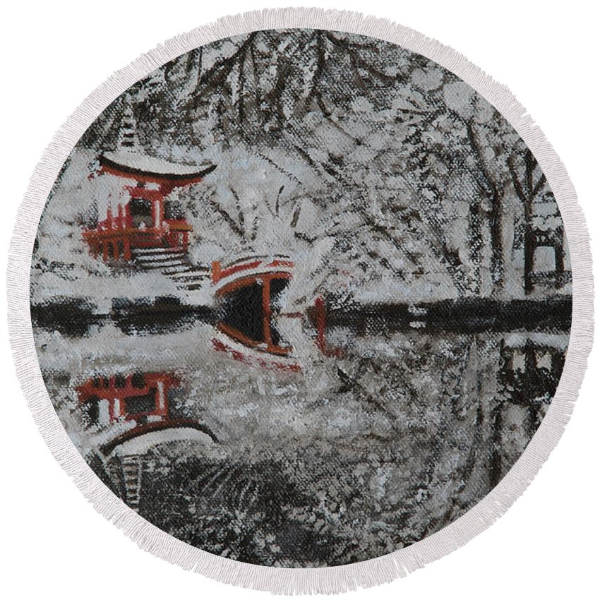 Japan Round Beach Towel featuring the painting Winter Garden by Masami Iida
