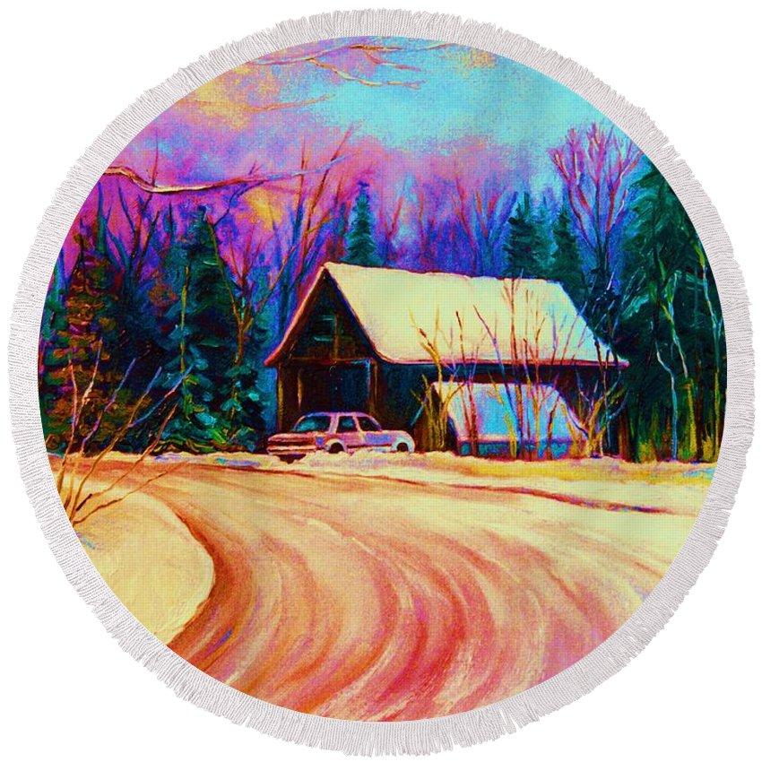 Landscape Round Beach Towel featuring the painting Winter Getaway by Carole Spandau