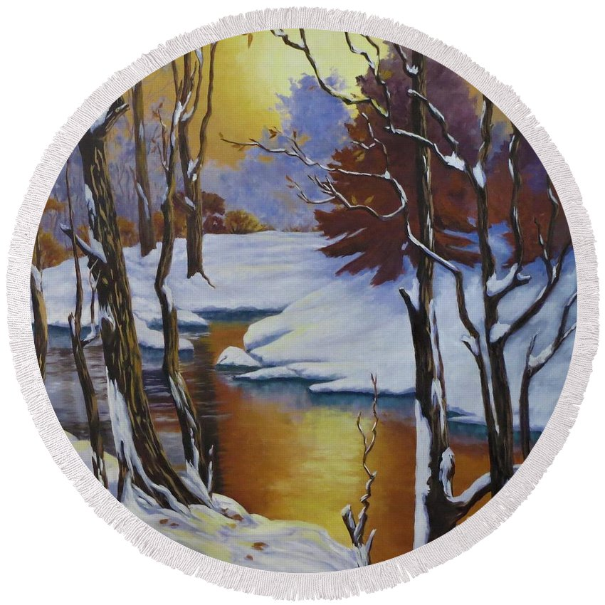 Winter Round Beach Towel featuring the painting Winter Gold by Beverly Theriault