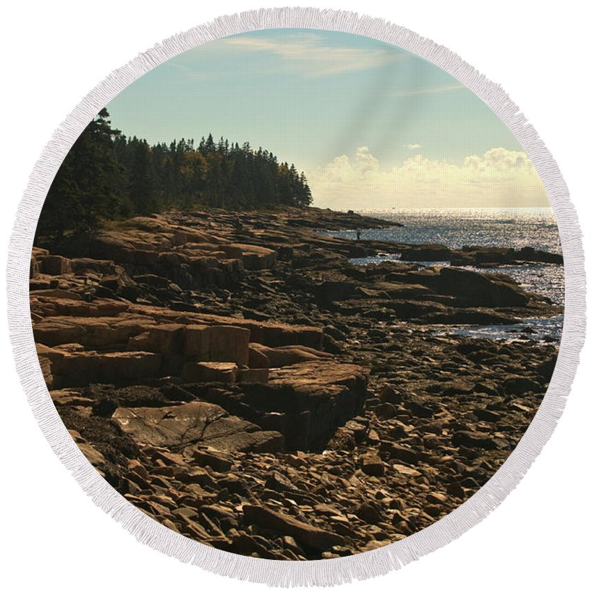 acadia National Park Round Beach Towel featuring the photograph Winter Harbor Maine by Paul Mangold