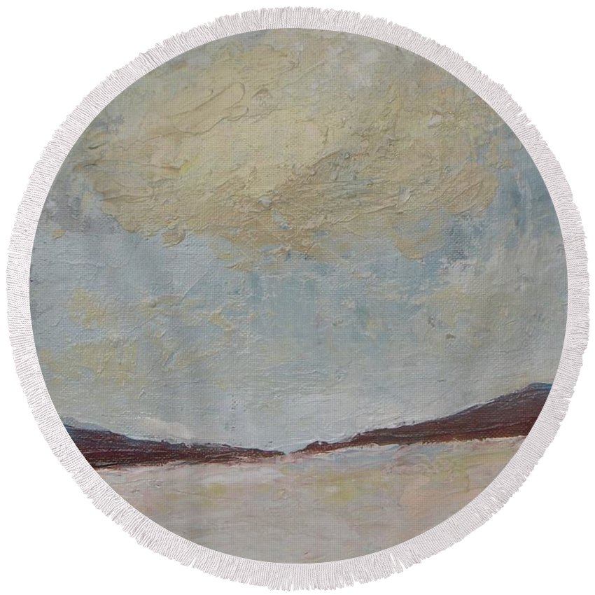 Landscape Round Beach Towel featuring the painting Winter In January by Vesna Antic