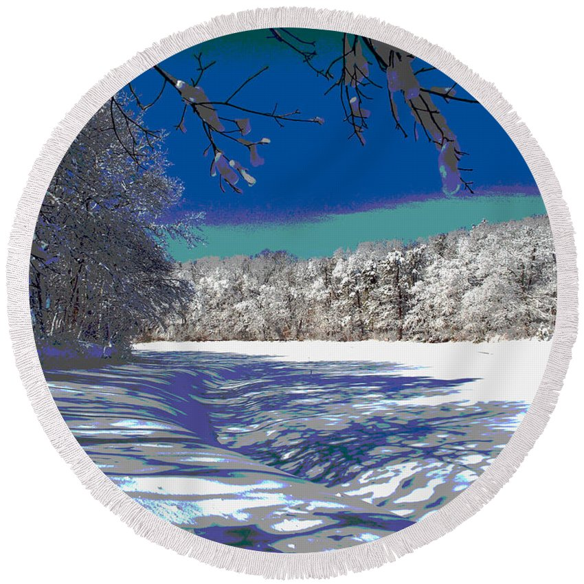 Cape Cod Round Beach Towel featuring the photograph Winter In New England by Dianne Cowen