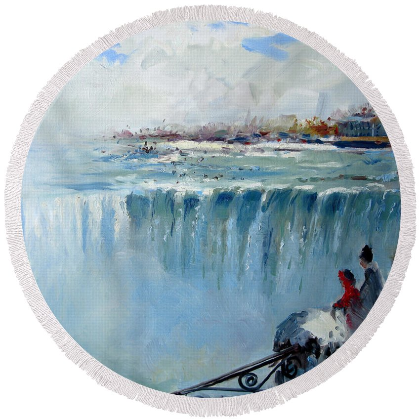 Landscape Round Beach Towel featuring the painting Winter In Niagara Falls by Ylli Haruni