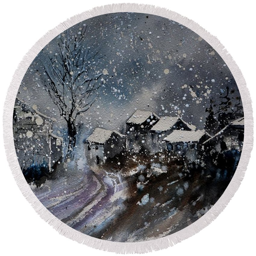 Landscape Round Beach Towel featuring the painting winter in Orchimont by Pol Ledent