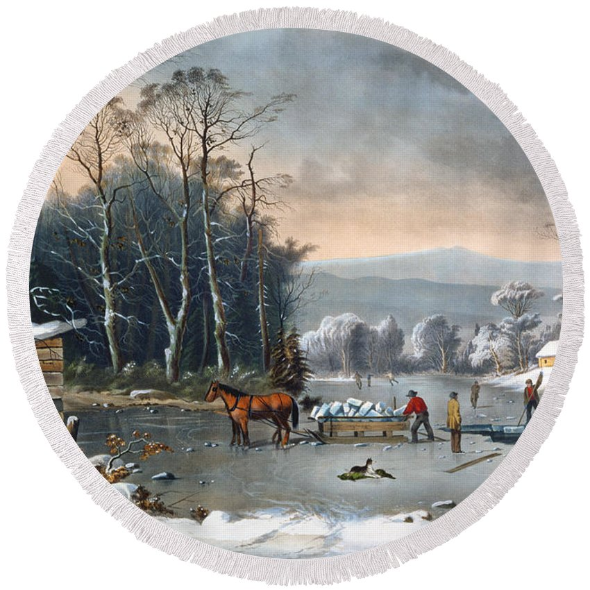 Winter In The Country Round Beach Towel featuring the painting Winter In The Country by Currier and Ives