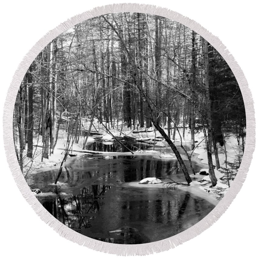Winter Woods Maine Forest Stream Round Beach Towel featuring the photograph Winter In The Woods by Scott Welton